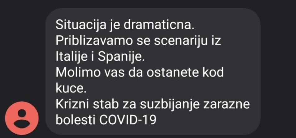 Ситуација је драматична, останите код куће: Грађанима Србије стиже СМС кризног штаба
