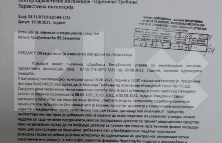 Болница у Требињу користила технички гас, Министарство здравља РС-а игнорисало обавијест инспектора